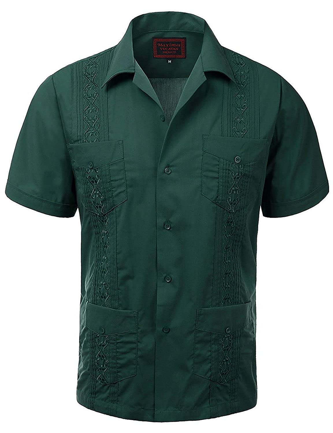 GUAYABERA MENS CUBAN WEDDING SHORT SLEEVE BUTTON-UP SHIRT-DARK GREEN
