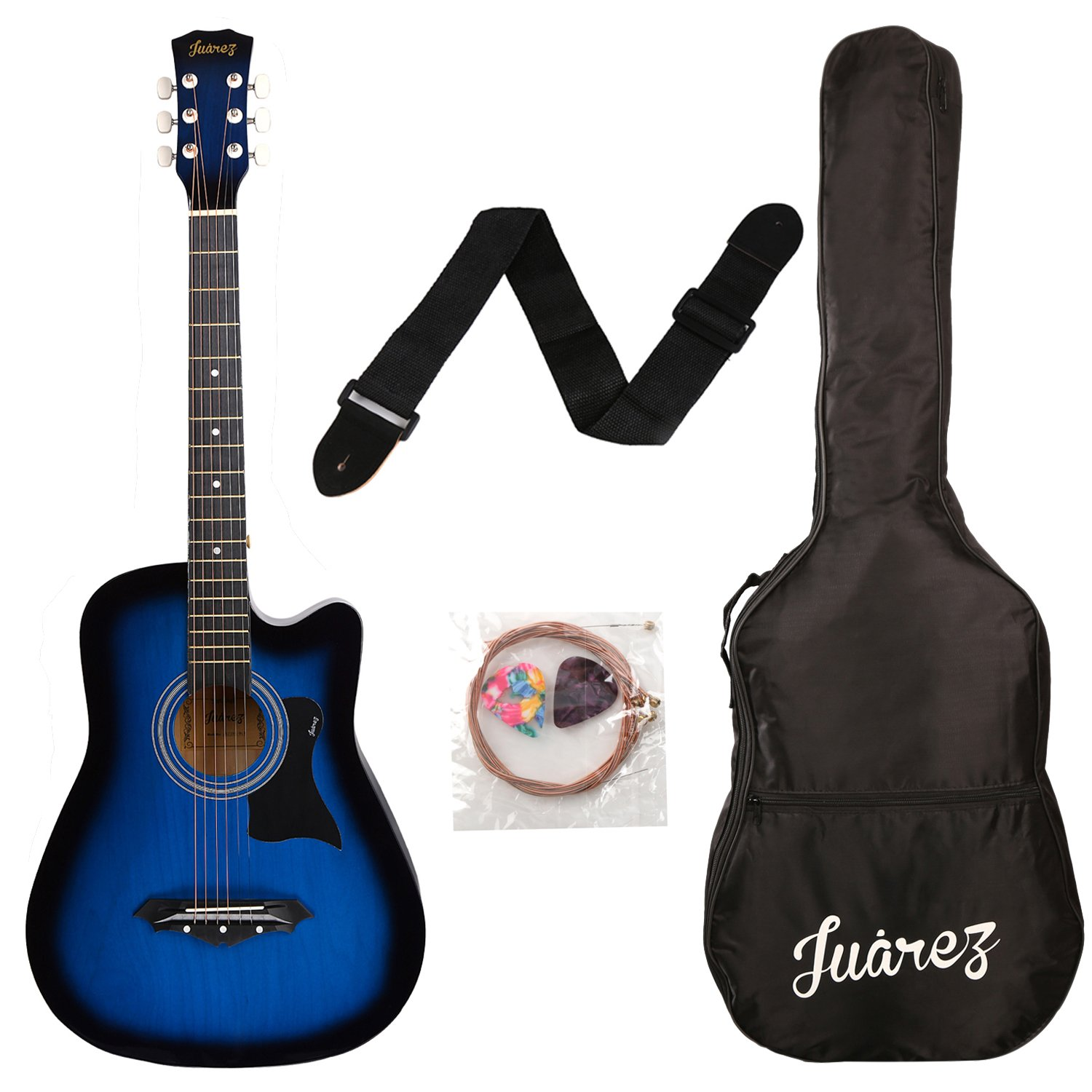 Juarez JRZ38C 6 Strings Acoustic Guitar 38 Inch Cutaway, Right Handed, TBS Transparent Blue Sunburst with Bag, Strings, Picks and Strap