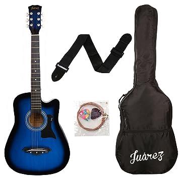 Juarez JRZ38C 6 Strings Acoustic Guitar 38 Inch Cutaway Right Handed TBS Transparent Blue