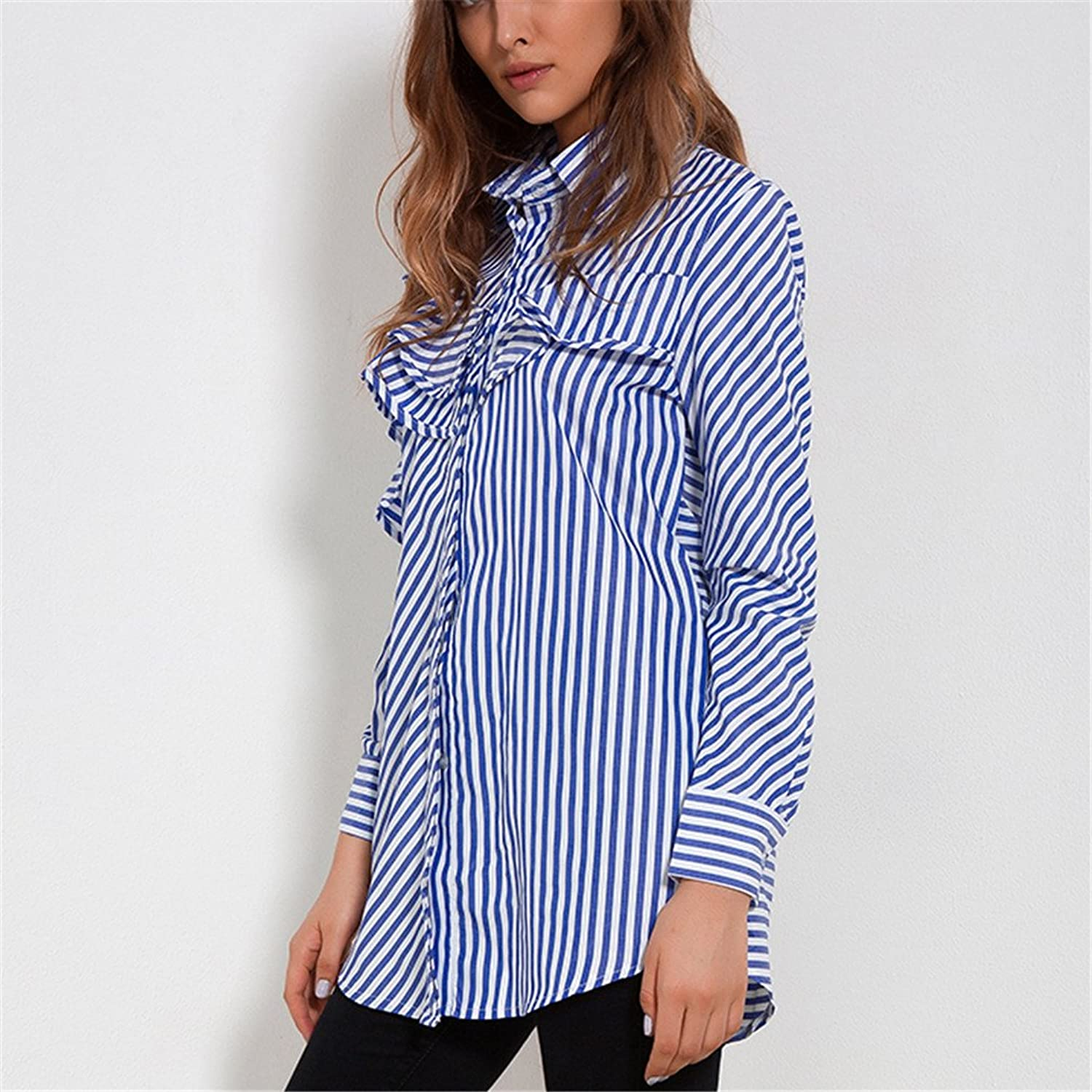 Taiziwei Women Tops Blouses Spring Blue and White Striped Shirt Long Sleeve Collar Ruffle Blouse Womens Clothing at Amazon Womens Clothing store: