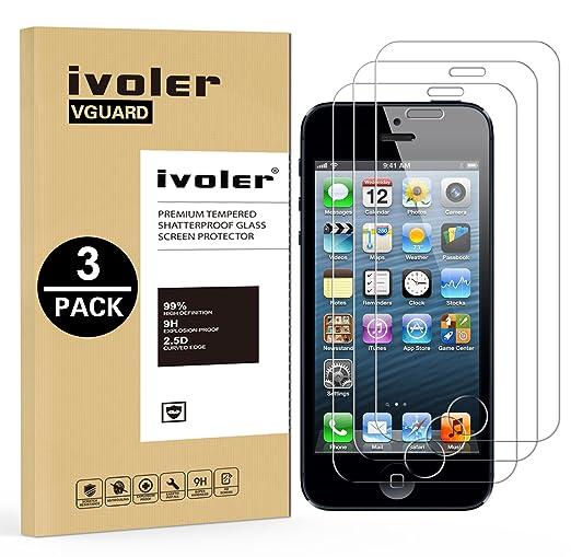 16 opinioni per [3 Pack] Pellicola Vetro Temperato iPhone SE, iVoler® ** [Protezione Antigraffi]