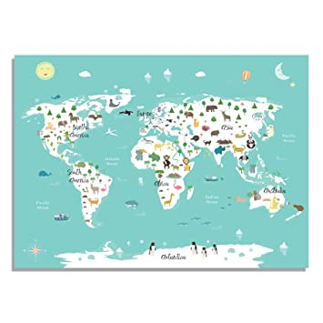 Amazon kids world map poster with illustrations introduce kids world map poster with illustrations introduce geography and famous animals from each continent gumiabroncs Image collections