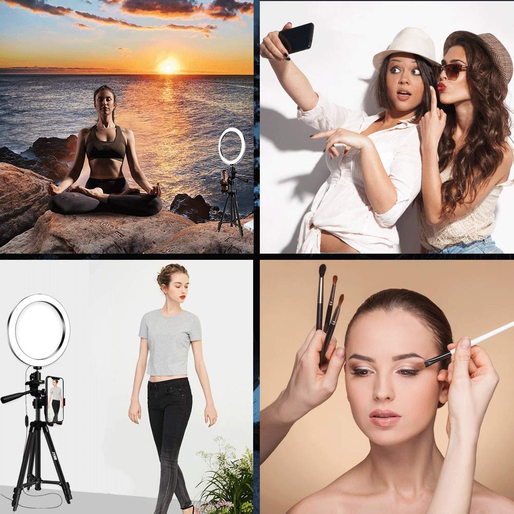 8'' Selfie Ring Light with Aluminum Tripod Stand ,Phone Holder & Remote for YouTube/Makeup,Mini Led Camera Light Ring with 3 Light Modes & 11 Brightness for iPhone/Android (Black Upgraded) by JYSW (Image #7)