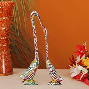 Handicrafts Paradise Pair of Kissing Swan/Duck Home Decor Showpiece in White Metal - 10 inch (Multi Color)