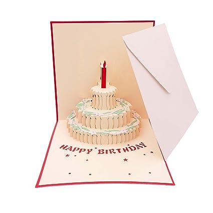 Papel 3D Pop Up Tarjeta de pastel de cumpleaños Tarjeta ...