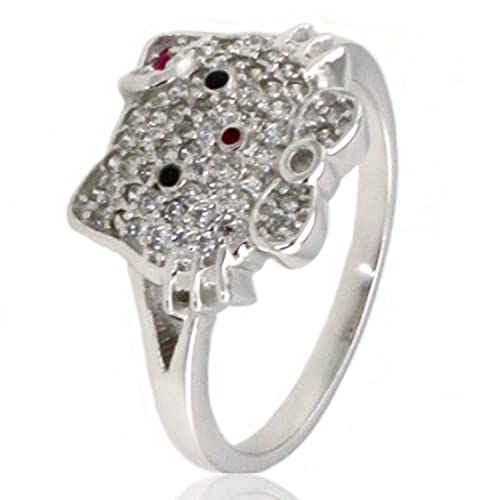 a03a00cce Amazon.com: Sterling Silver Cubic Zirconia Kitty Ring: Hello Kitty ...