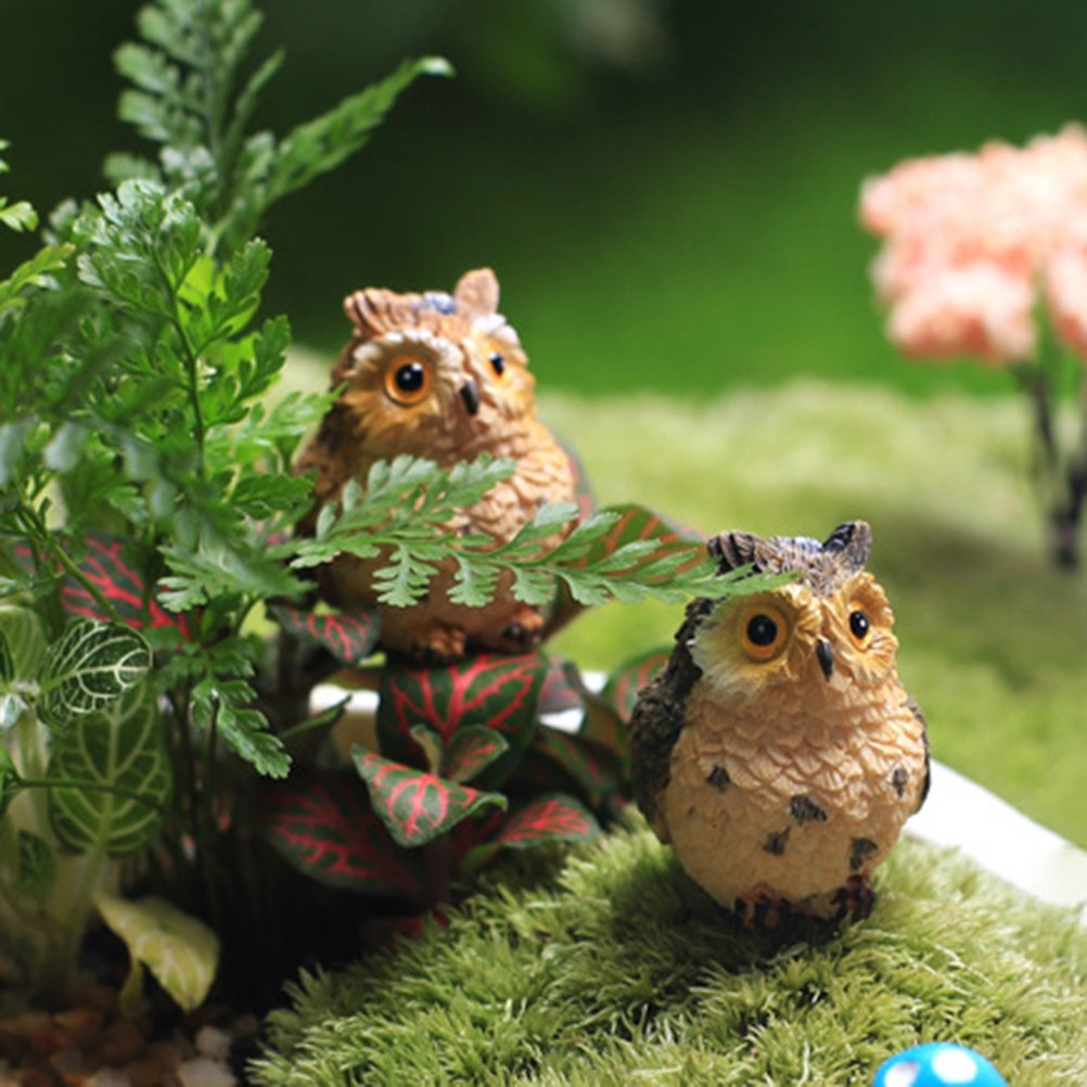Healifty Miniature Fairy Garden Landscape Ornament Mini Owl Dollhouse Plant Pot Figurine DIY Fish Tank Decoration (Random Color)