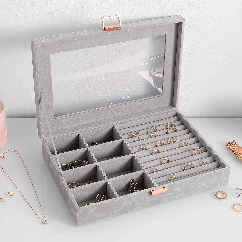Velvet Ring Box Tray Jewellery Organiser Storage Rings Display Case Holder Grey