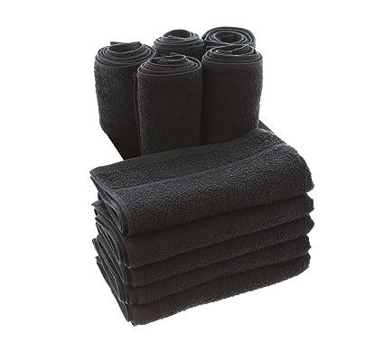 TowelsRus Toallas de peluquería Negro (Reactive Dyed, Pack of 10)