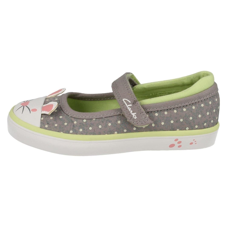 Clarks Gracie Tale pour bébés filles Casual chaussures en toile grise Grey Canvas 8 F 5cKftFh