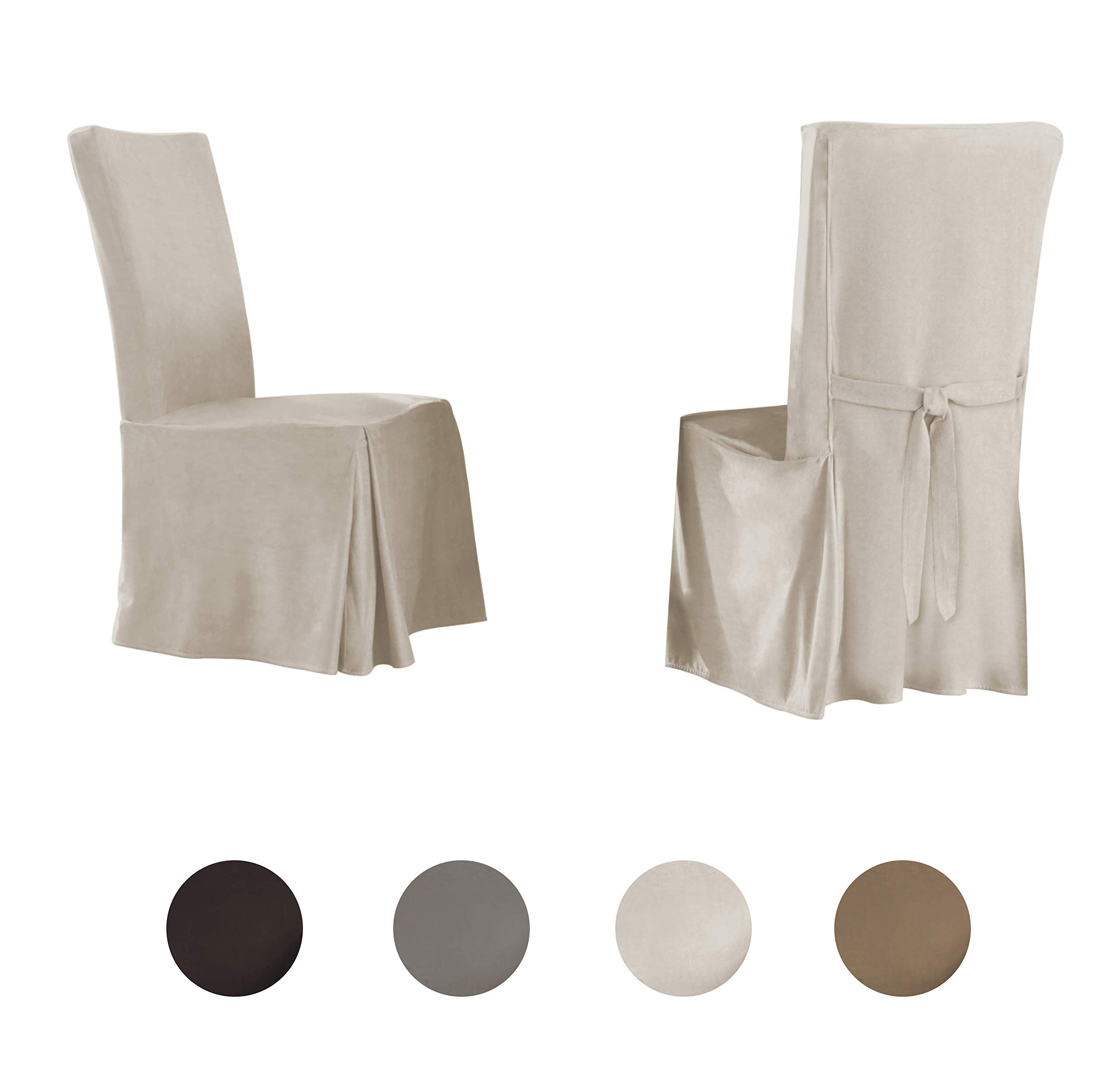 Perfect Fit | Relaxed Fit Smooth Suede Furniture Slipcover for Dining Room Chair, Long Skirt (Ivory)