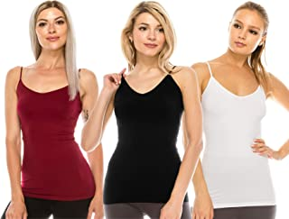 product image for Kurve Women's Camisole Tank Top - 3 Pack Stretch V Neck Strap Cami, UV Protective Fabric Rated UPF 50+ (Made in USA)