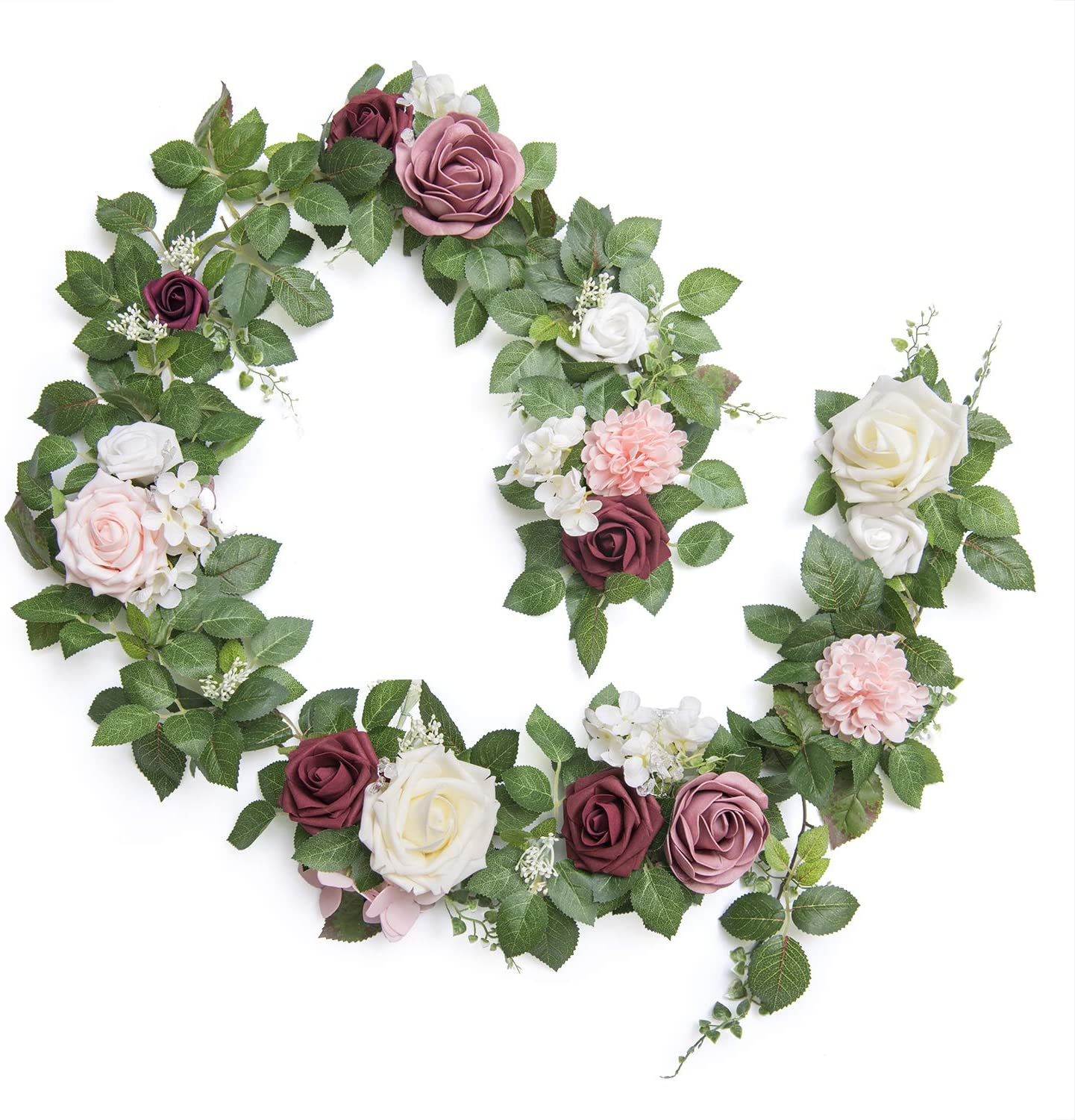 Ling's moment Handcrafted Real Touch Flower Rose Garland 5FT, Artificial Foliage Greenery Vine with Mixed Flowers, for Table Runner, Wedding Arch Backdrop, Sweetheart Table, Centerpieces, Photo Booth