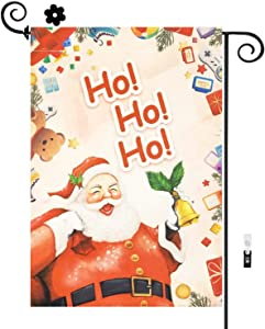HILUCK Home Garden Flag Ho Ho Ho Santa with Bell Gift Bag, Burlap Vertical Double Sided for Winter Merry Christmas Yard Party Celebration Banner in Lawn Outdoor Flags 12 x 18 inch