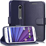 Vena vSuit Draw Bench PU Leather Wallet Flip Stand coque w/ Card Pockets pour Motorola Moto G (3rd Gen, 2015) (Oxpourd Blue)