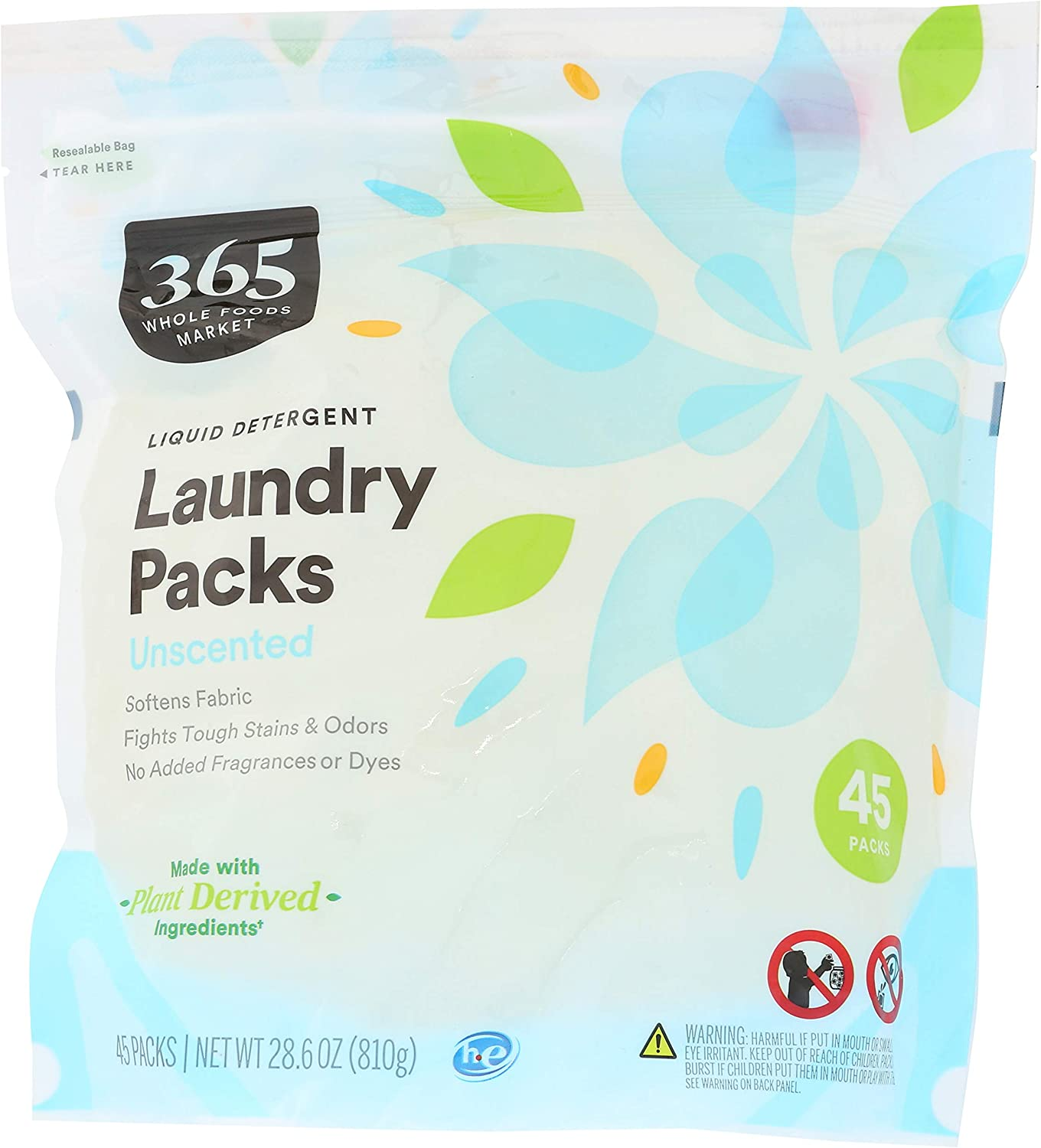 365 by Whole Foods Market, Laundry Detergent Liquid Packs, Unscented, 45 Count