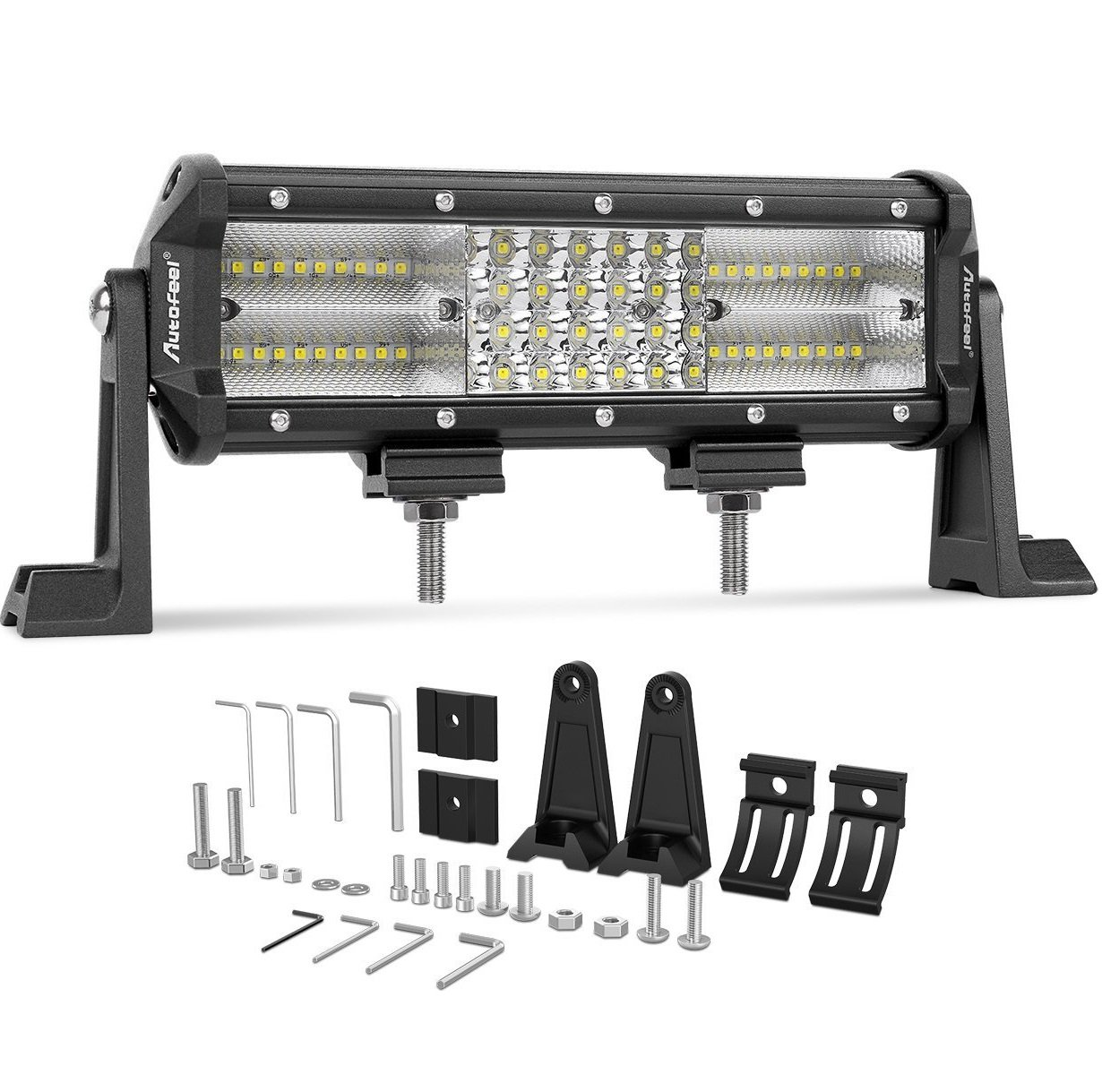 Led Light Bar Autofeel 9 Inch 8d Quad Row Spot Flood Hi Lo Lights Wiring Diagram Atv Combo Beam Cree Of Road Auto Work With Slide Mounting Brackets For