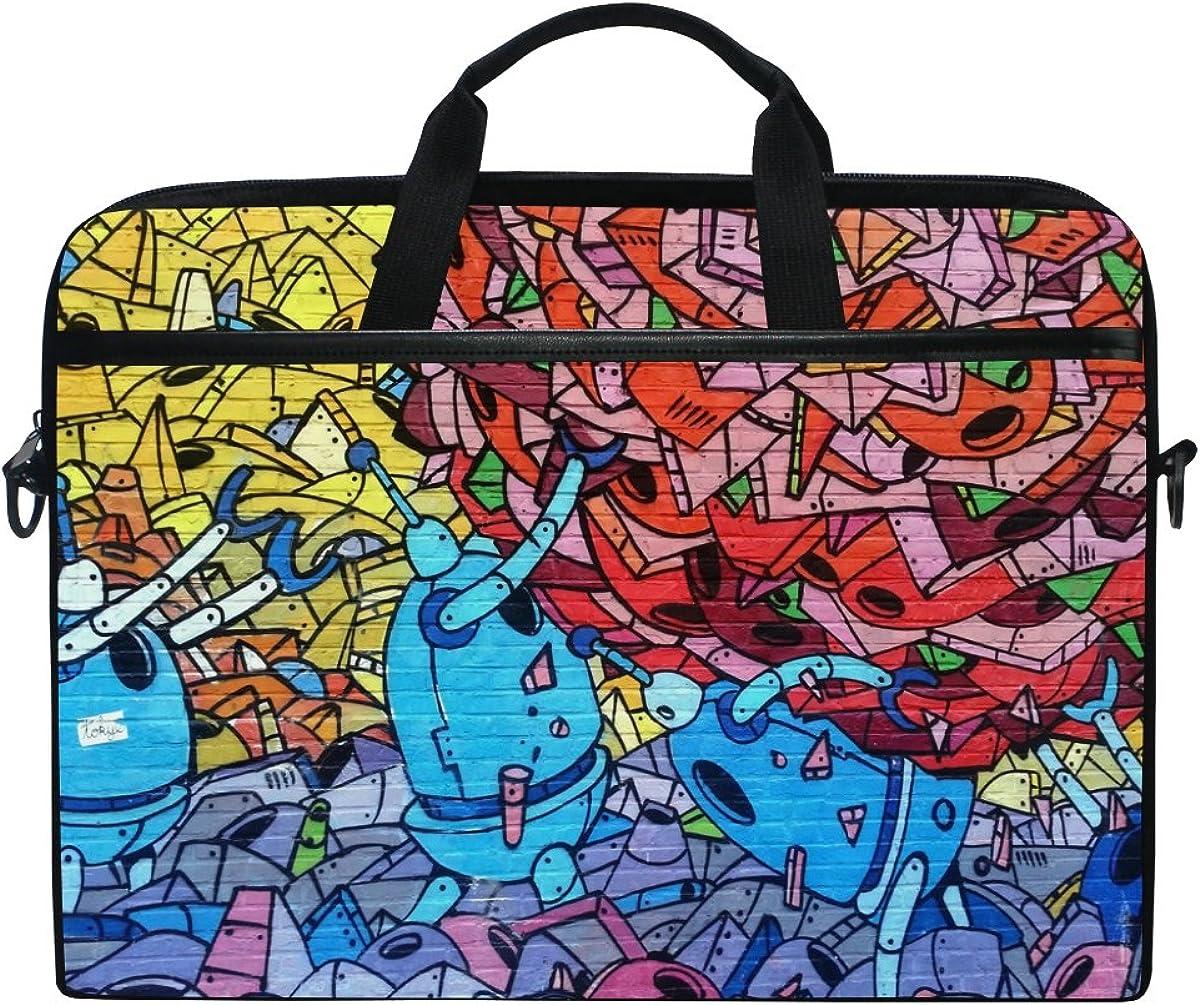 Ahomy Laptoptasche 35 6 Cm 14 Zoll Graffiti Buntes Leinengewebe Laptoptasche Business Handtasche Mit Schultergurt Für Damen Und Herren Schuhe Handtaschen