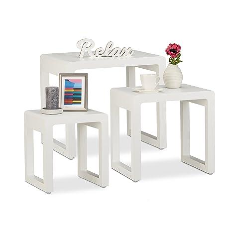 Relaxdays Set 3 Tavolini da Salotto Sovrapponibili, Stile Elegante ...