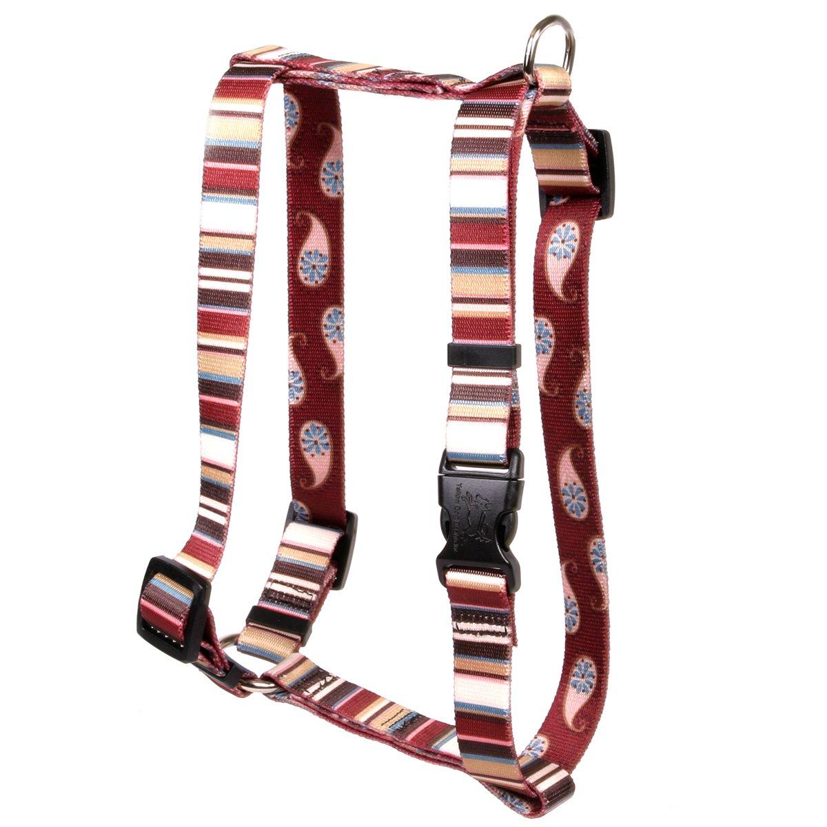 Large 20\ Yellow Dog Design Burgundy Stripes Roman Style H  Dog Harness, Large