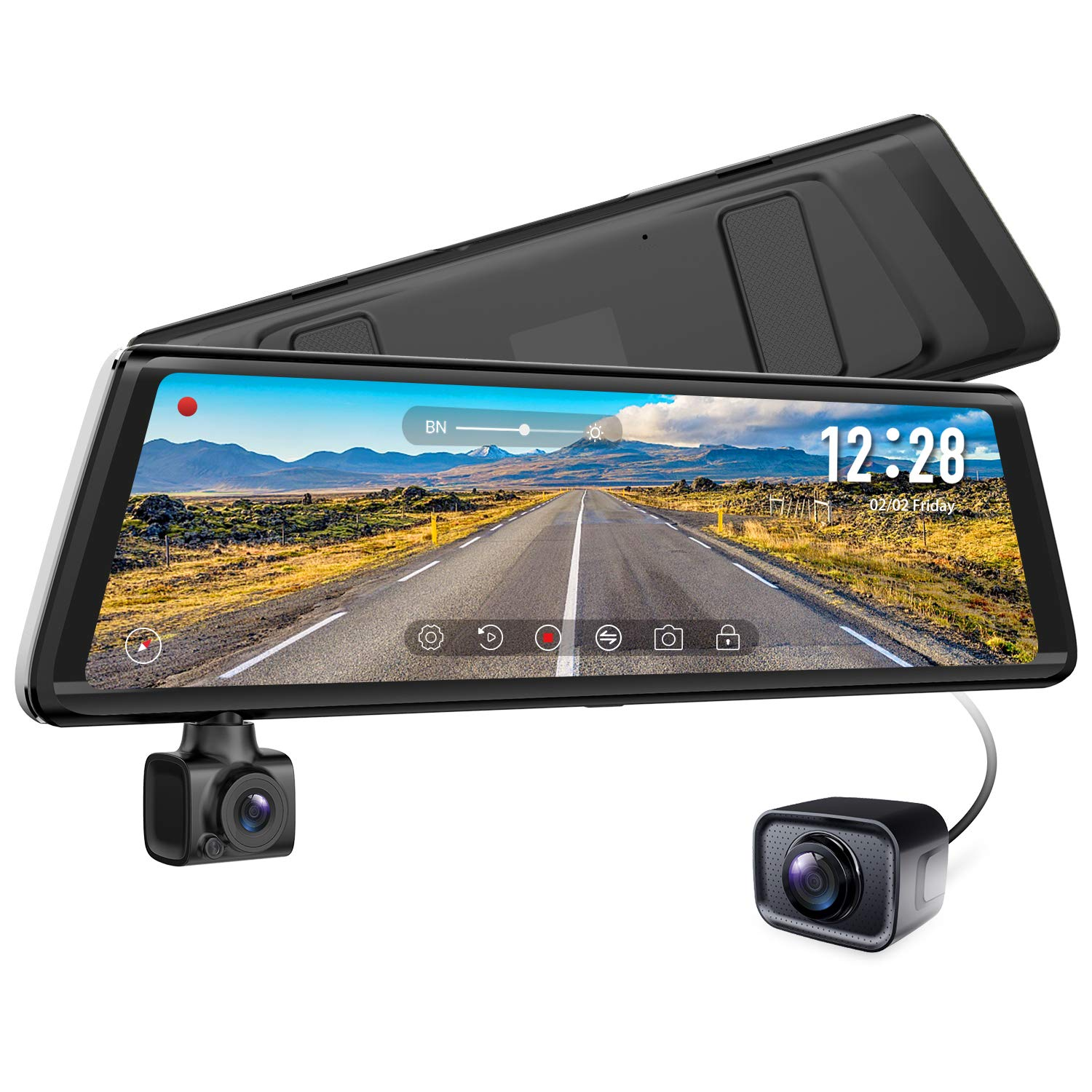 AUTO VOX A1 Uber Stream Media Mirror Dash Cam,The 3-in-1 Rear View Mirror,1080P Rotating Front or Inside Dash Camera,720P AHD Waterproof Backup Camera with Parking Mode,Loop Recording,G-Sensor,WDR by AUTO-VOX