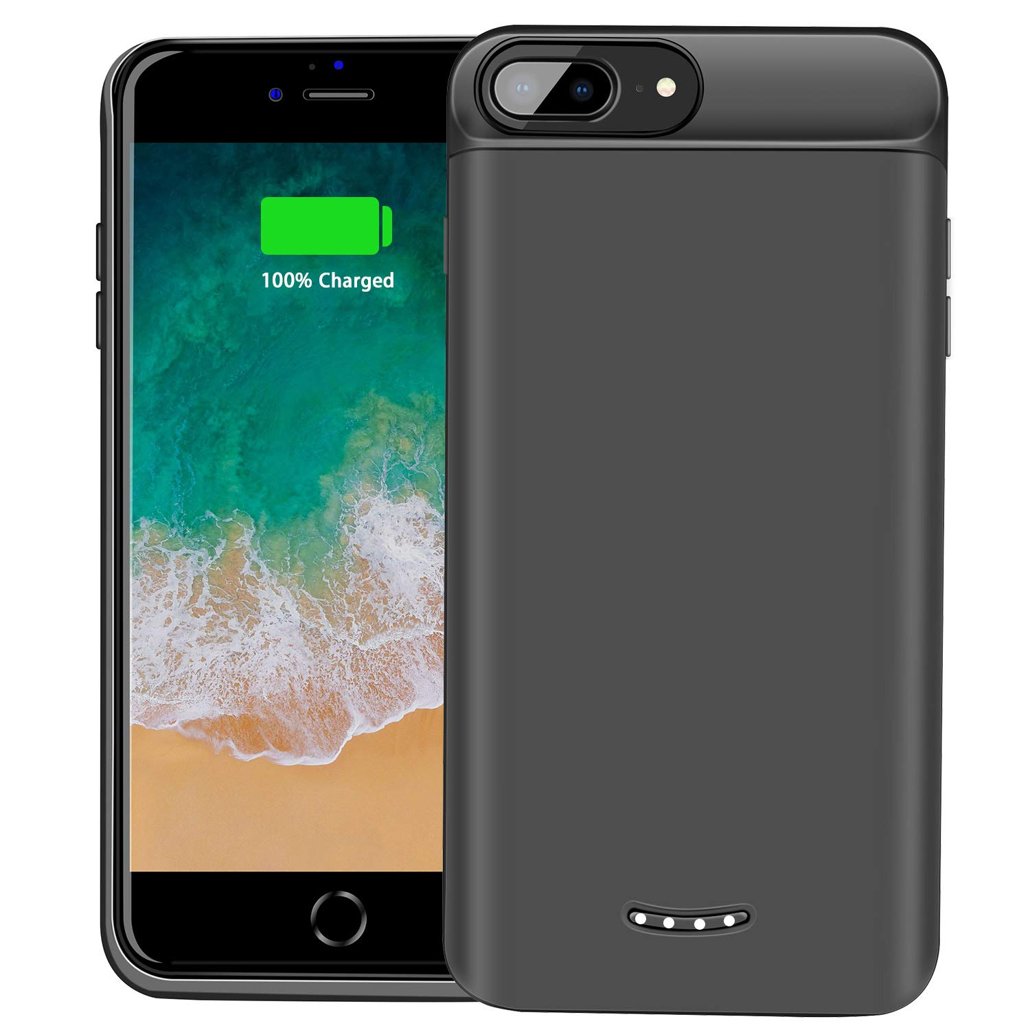 BeeFix Compatible iPhone 8 Plus / 7 Plus Battery Case,7500mAh Portable Charger Case Rechargeable Extended Battery Pack Protective Backup Charging Case for iPhone 8 7 6S 6 Plus 5.5 inch (Black)