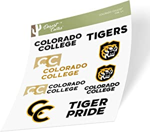 Colorado College Tigers NCAA Sticker Vinyl Decal Laptop Water Bottle Car Scrapbook (Type 2 Sheet)