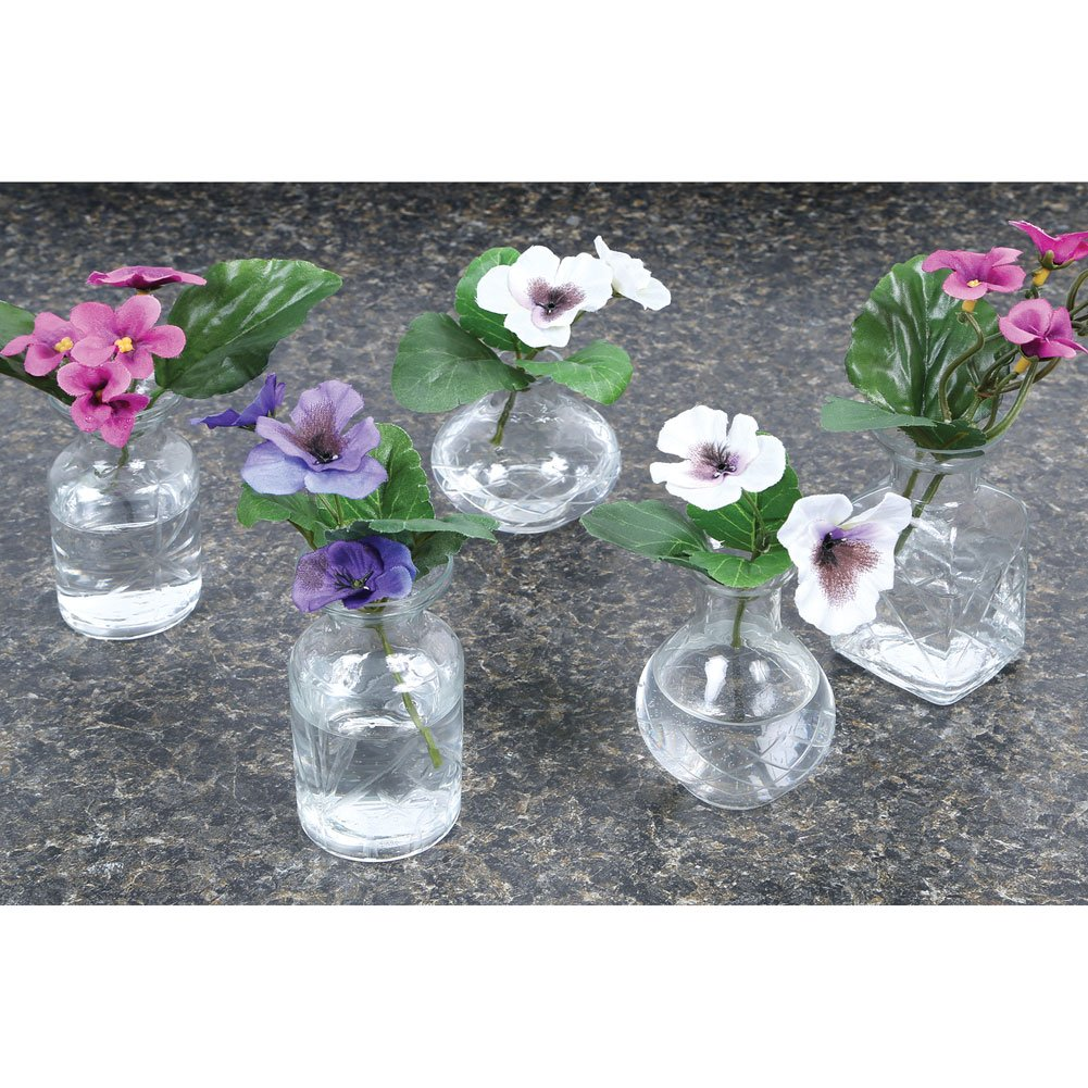 2 3//4-3 3//4 H Clear ART /& ARTIFACT Set of 5 Petite Glass Bud Vases in Clear or Jewel Tones Fun Shapes
