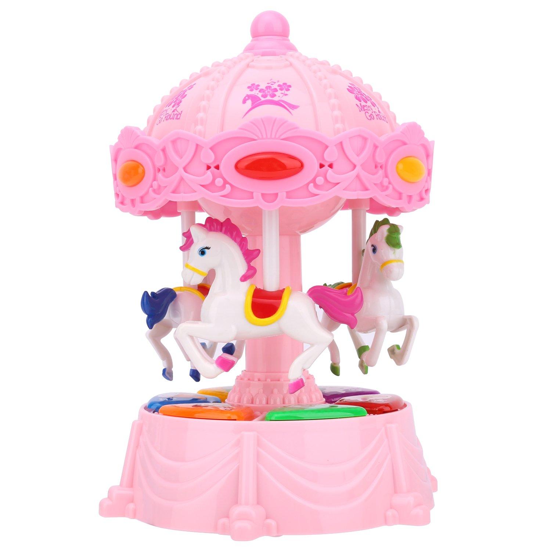 Zooawa Boîte à Musique Carrousel, Merry-Go-Ronde Jouet Musical Rotatif Electronique avec 3 Modes et Son Animal - Rose