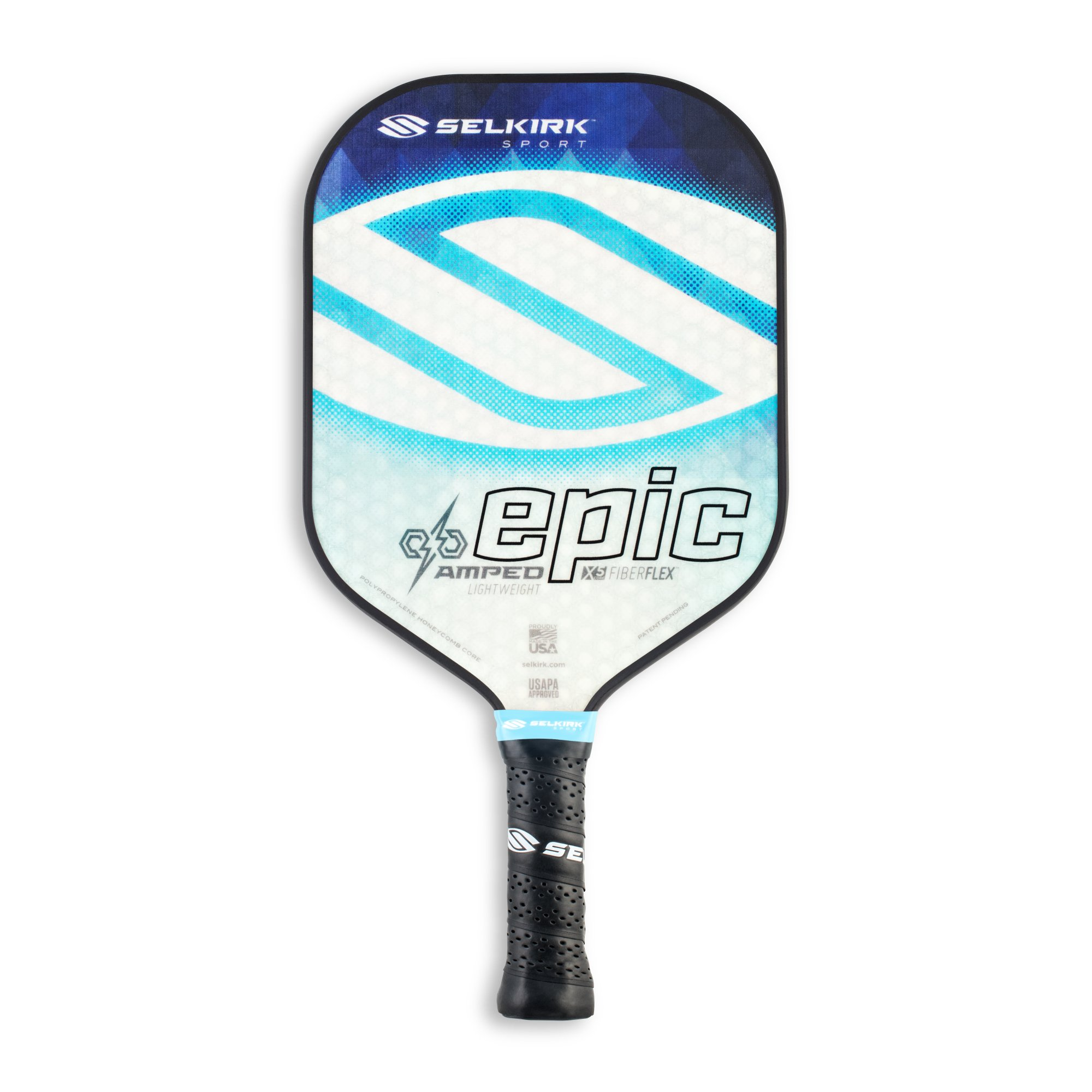 Selkirk Amped Pickleball Paddle - USAPA Approved - X5 Polypropylene Core - FiberFlex Fiberglass Face - 5 Sizes: Epic, S2, Omni, Maxima, and INVIKTA (Epic Lightweight - Sapphire Blue)