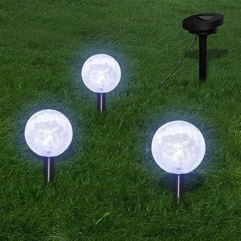 luckyfu Juego 3 x Farolillo solar a LED con piquetas & Panel ...