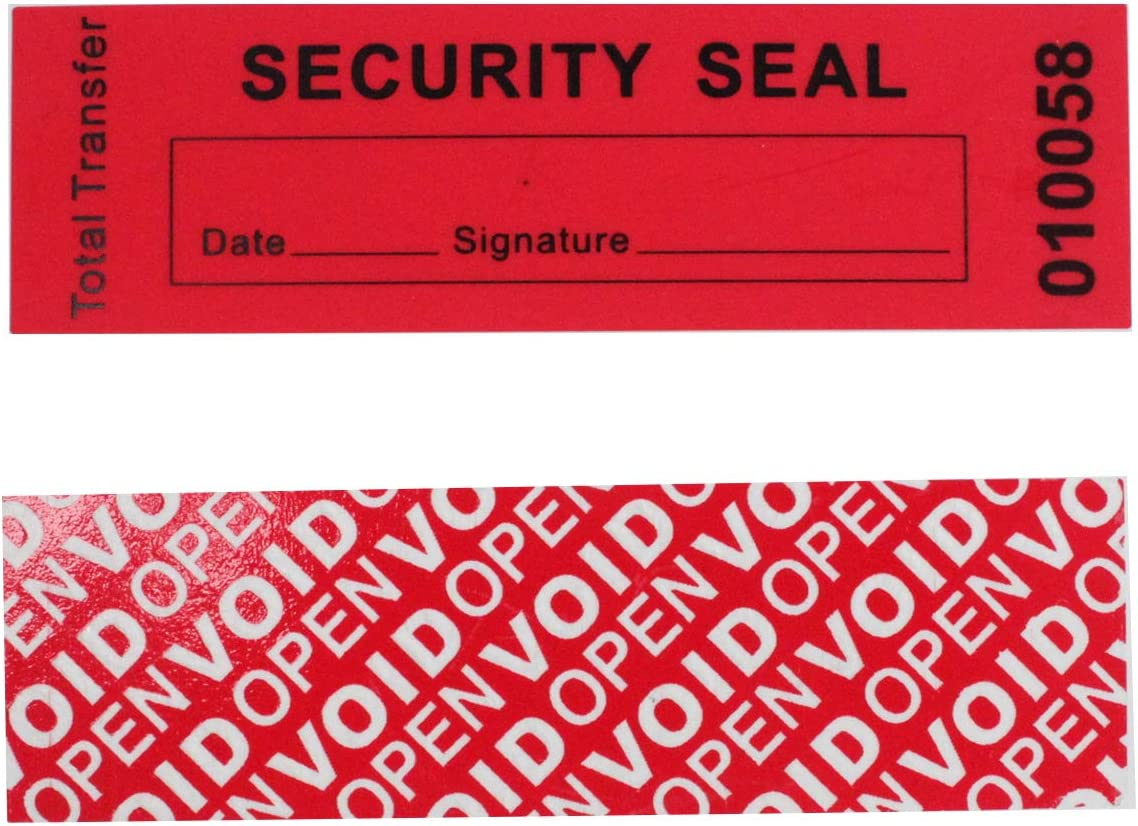 100 Total Transfer Tamper Evident Security Warranty Void Stickers/ Labels/ Seals (Red, 30x90 mm, Serial Numbers - TamperSTOP)