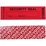 100pcs 100% Total Transfer Tamper Evident Security Warranty Void Stickers/ Labels/ Seals (Red, 1 x 3.35 Inches, Serial Number