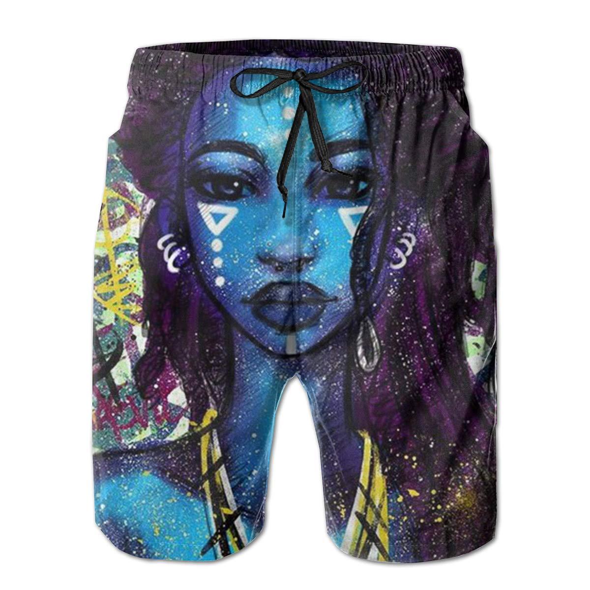 SARA NELL Mens Swim Trunks African American Women Black Art Graffiti Surfing Beach Board Shorts Swimwear