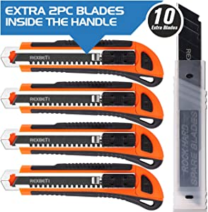 REXBETI 4-Pack Utility Knife with Extra 10 Blades. Industrial Grade Heavy Duty Retractable Box Cutter for Cartons, Cardboard and Boxes, Ultra Sharp Black Blade, Blade Storage Design
