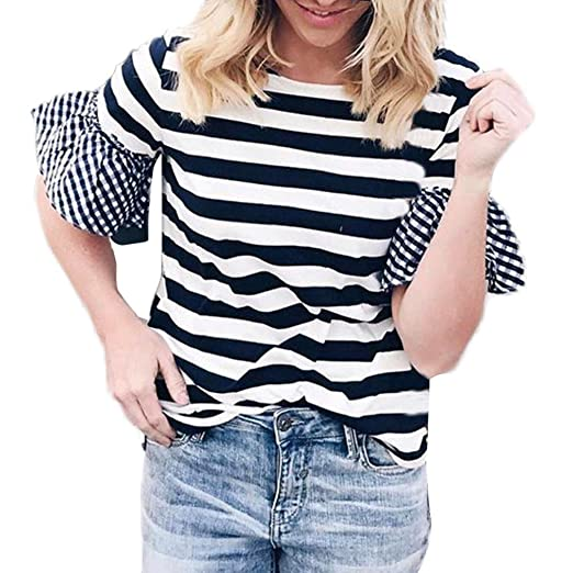 DondPO Women Summer Tops Womens Short Sleeve T-Shirts Striped Loose Ladies Casual Blouse Cute