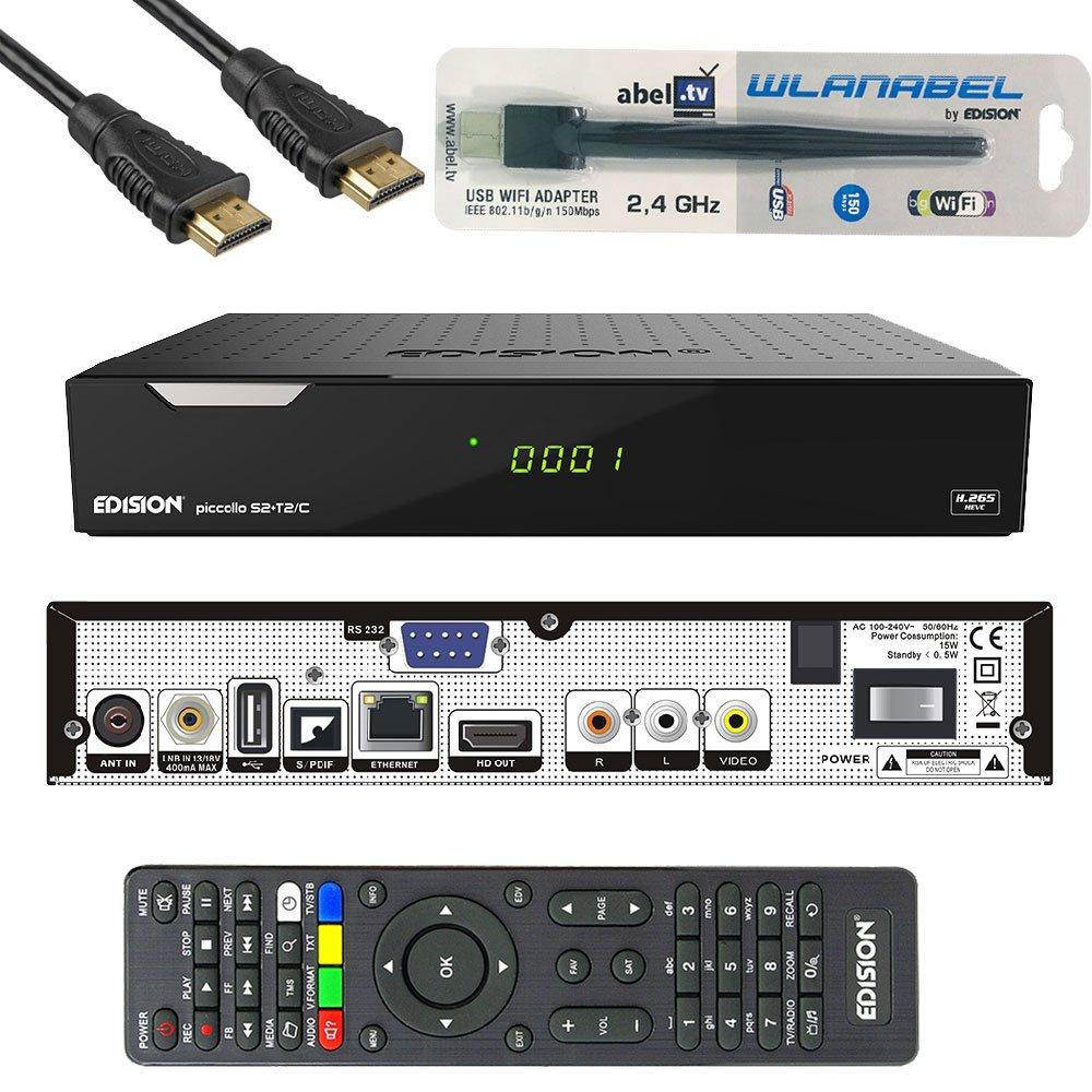HDMI, AV, USB 2.0,Display,CA,CI,LAN Deutsch vorprammiert inkl.Wlanabel und HDMI Kabel Edision Piccollo S2+T2//C Full HD Satelliten-Kabel-Receiver FTA HDTV DVB-S2//C//T2