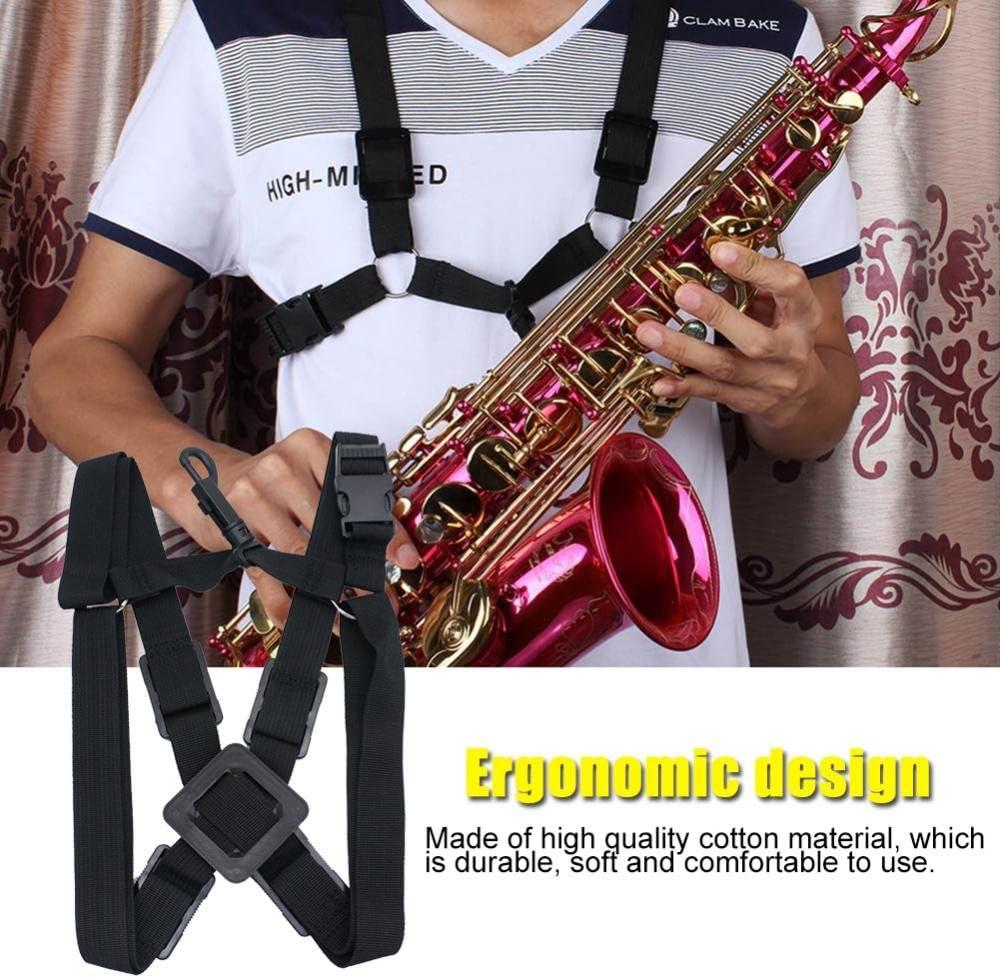 Professional Saxophone Strap Adjustable Sax Double Shoulder Strap Soft Harness for Baritone Alto Tenor Soprano Sax Musical Instrument Accessory Black