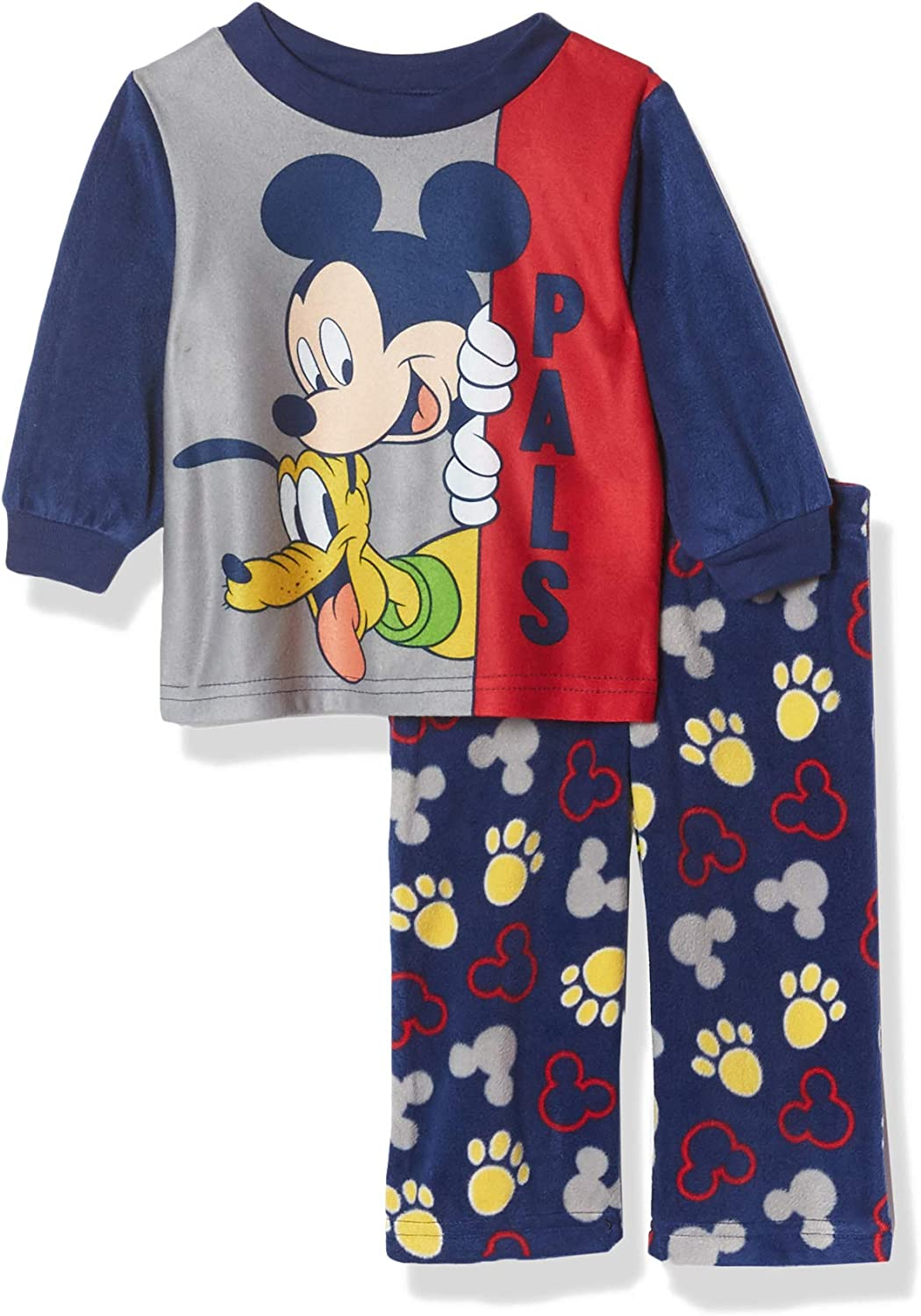 6 Disney Mickey Mouse Boys or Girls 2 Piece Top with Fleece Bottom Pants 2T 5