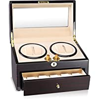 AUBLAN Wooden Quad Automatic Watch Winder 4+5 Storage Boxes for 9 Watches
