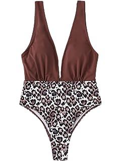 89452e05c9 SweatyRocks Women s Sexy Bathing Suits Basic Deep V High Waist Swimwear  Open Back One Piece Swimwear