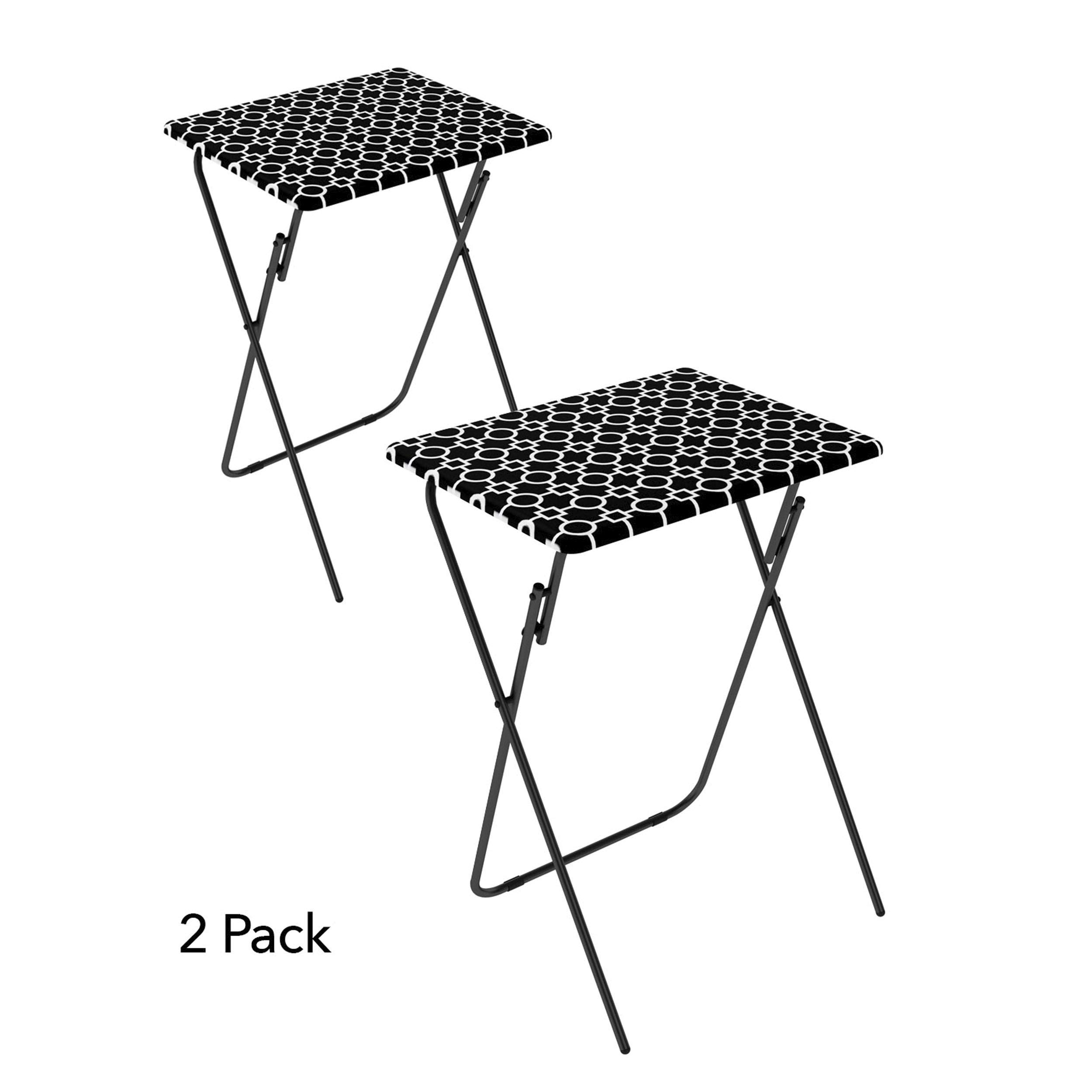Atlantic 2-Pack TV Tray, Park Place in Black and White (Renewed) by Atlantic