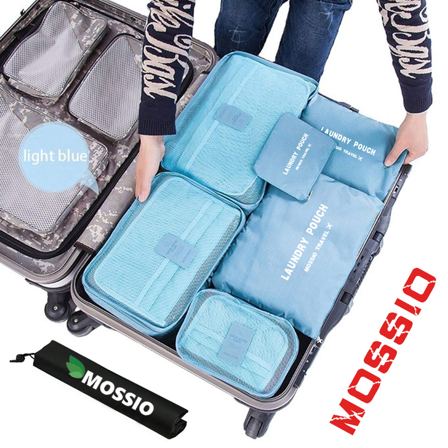 Mossio 7 Set Packing Cubes with Shoe Bag - Compression Travel Luggage Organizer Luo GuiLing PA-DBU
