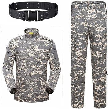 KYhao - Traje táctico militar de camuflaje para hombre, caza, combate BDU, camisa uniforme y pantalones con cinturón para tiro, caza, juego de guerra, airsoft, paintball, XL, ACU: Amazon.es: Deportes y aire