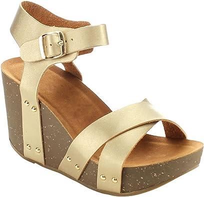 ShoBeautiful Women's Wedge Ankle Strap