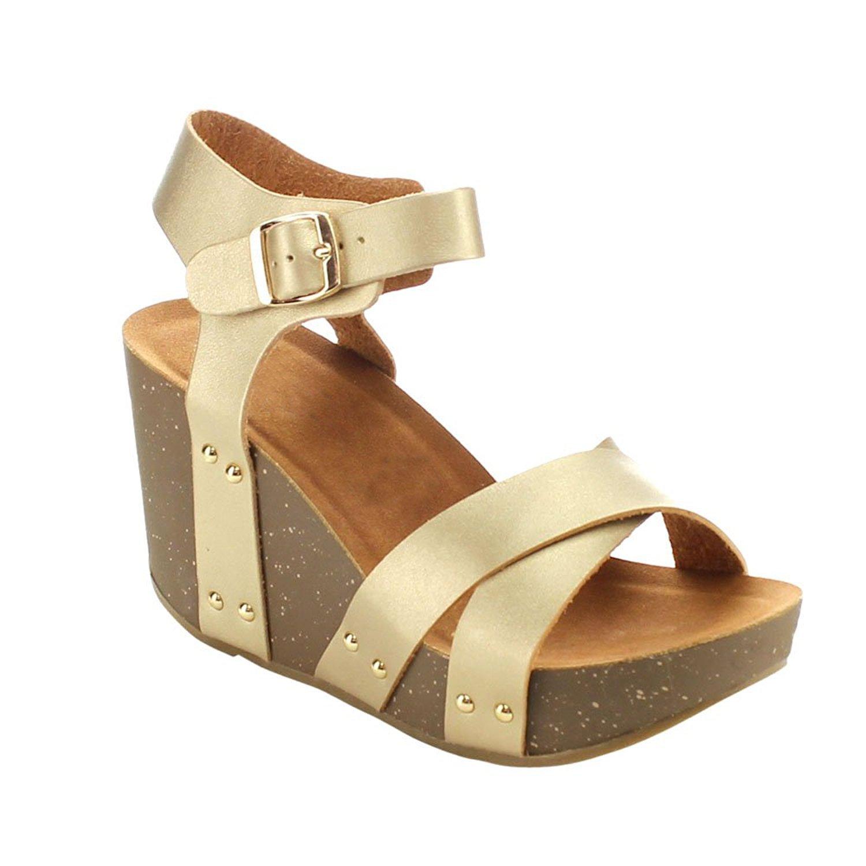 ShoBeautiful Women's Wedge Ankle Strap Sandals Comfort Thick Cork Board Criss Cross Strap Platform Sandal B0796PN6GP 6 B(M) US|Champagne