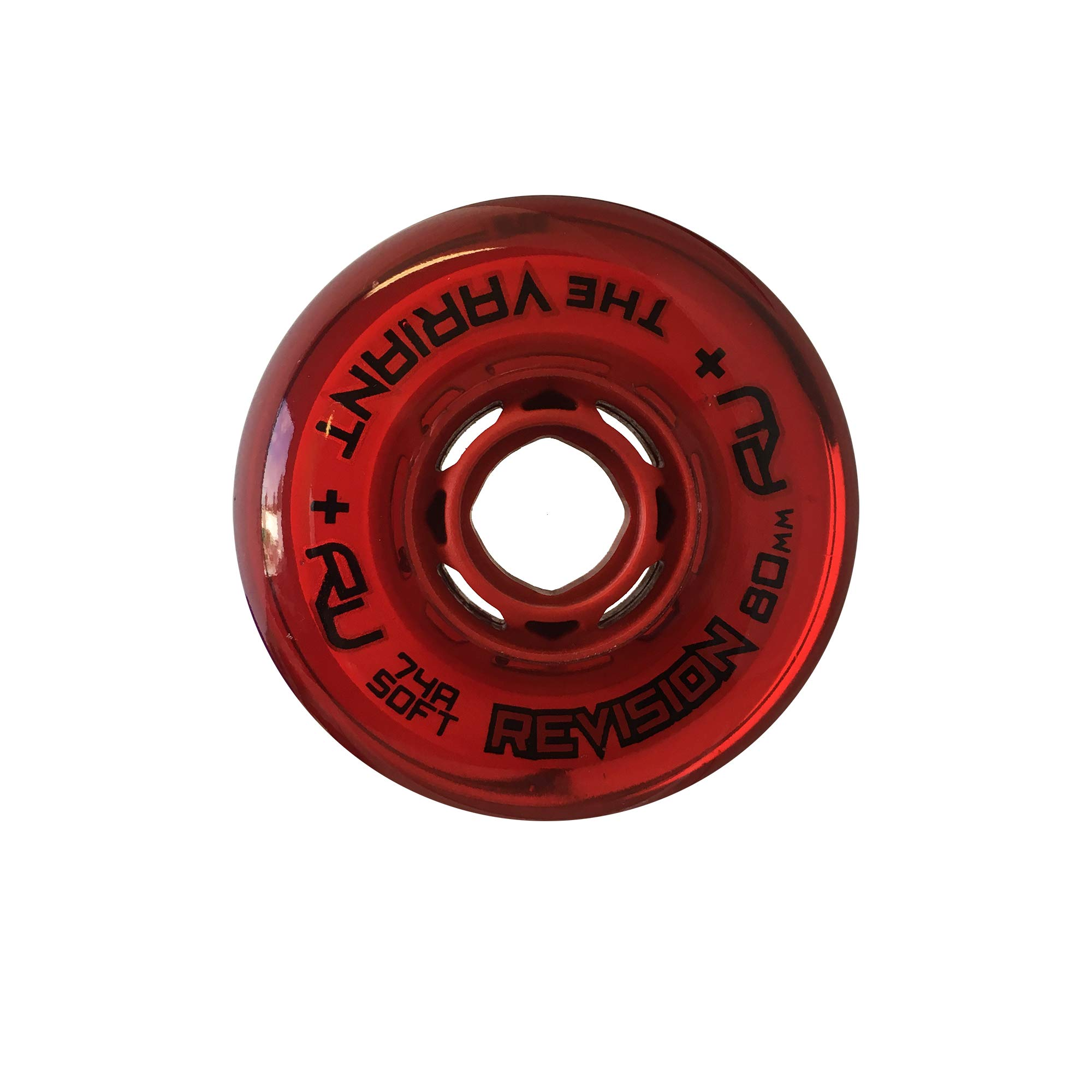 Revision Variant Indoor Inline Roller Hockey Wheel - 74A - 80mm Soft - Red by Revision Hockey