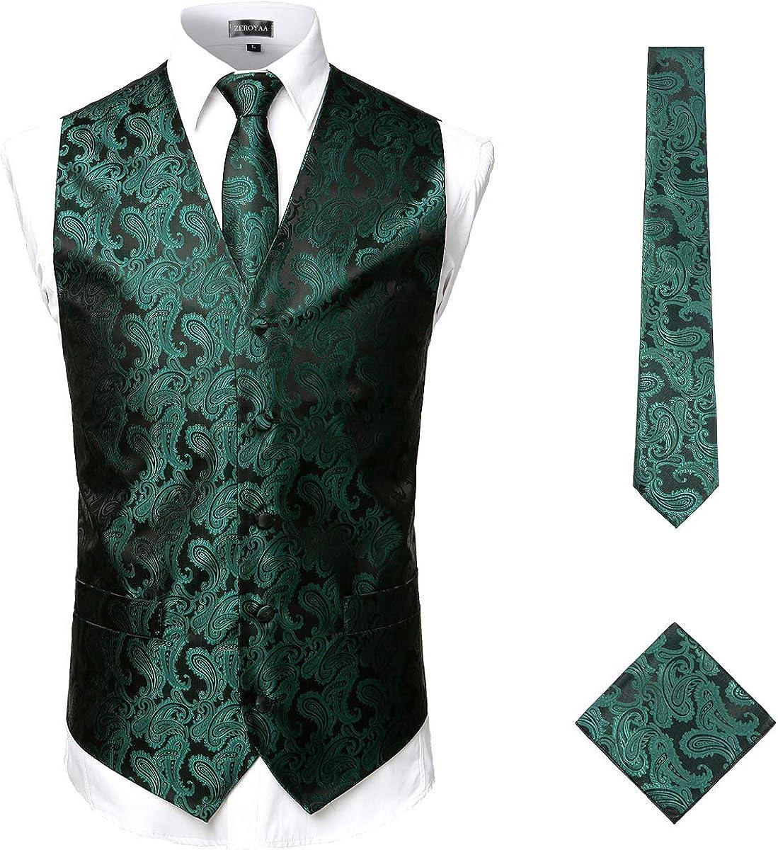 ZEROYAA Men's 3pc Paisley Jacquard Vest Set Necktie Pocket Square Set for Suit or Tuxedo
