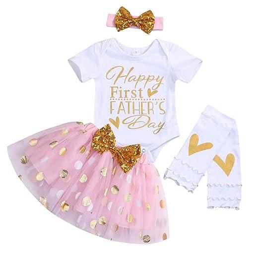 f76f6ff8f198 Amazon.com: Baby Girls Father's Day Skirt Set Short Sleeve Romper+Dot Bubble  Tutu Skirt+Headband+Leg Warmers 4Pcs Outfits: Clothing