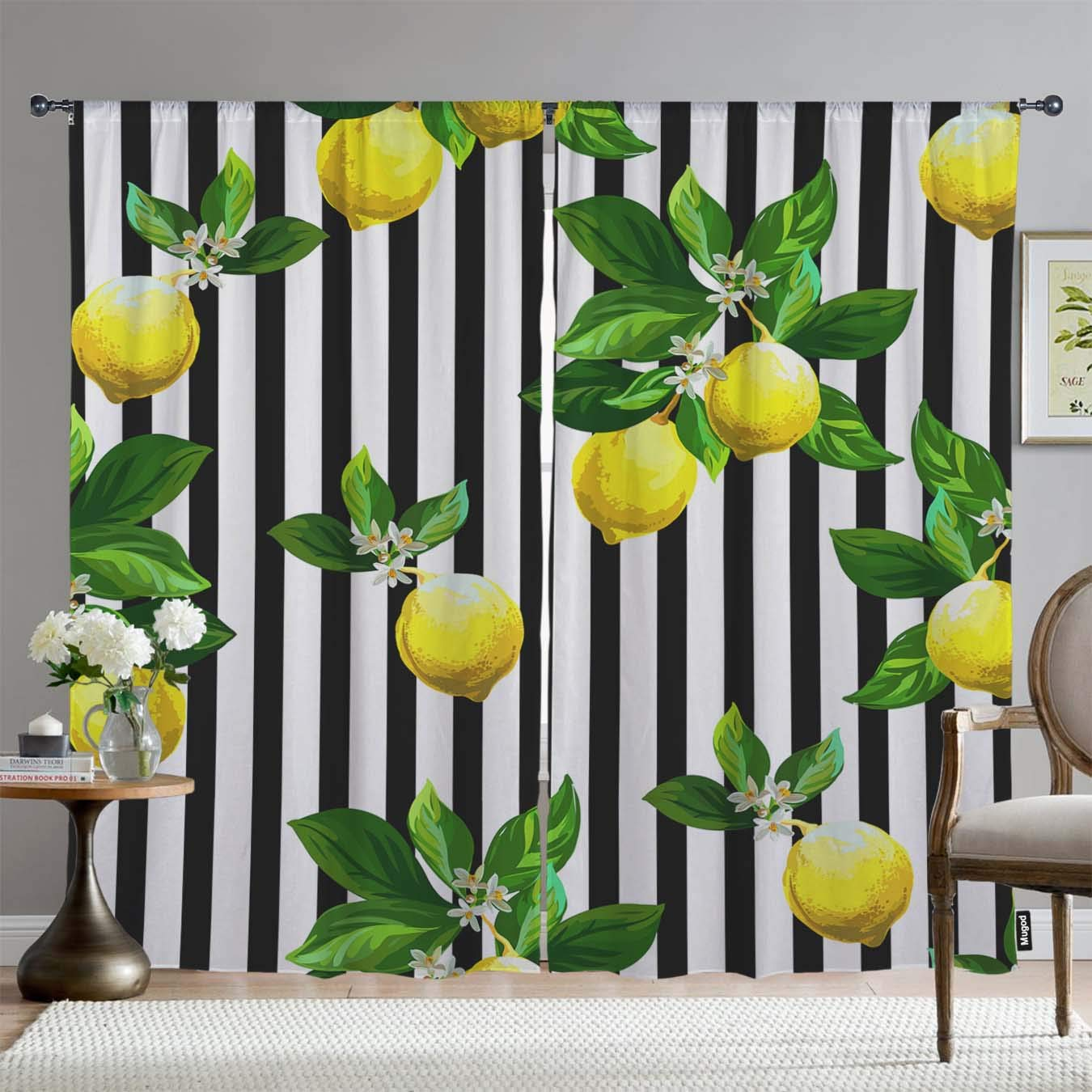 """Mugod Lemons Blackout Window Curtains Fresh Citrus with Green Leaves Pattern on Black and White Striped Background Room Darkening Drapes Curtains 2 Panels for Bedroom Living Room & Kitchen, 108""""x 96"""""""